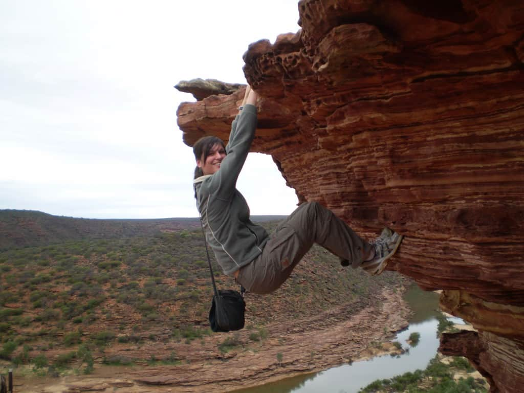 Hanging off a cliff, Kalbarri National Park, Western Australia