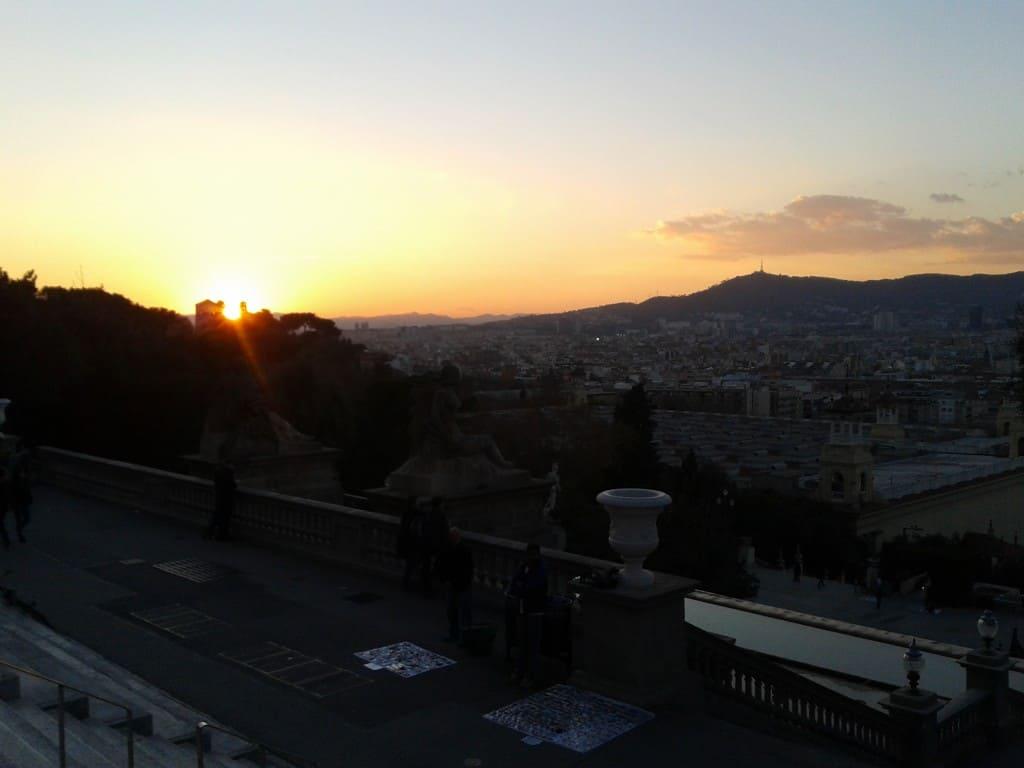 Barcelona sunset view