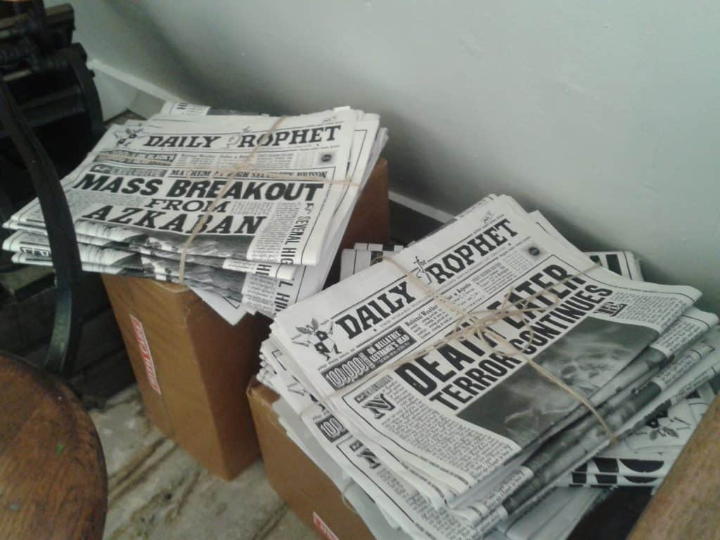 House of MinaLima London Harry Potter Daily Prophet newspaper stacks