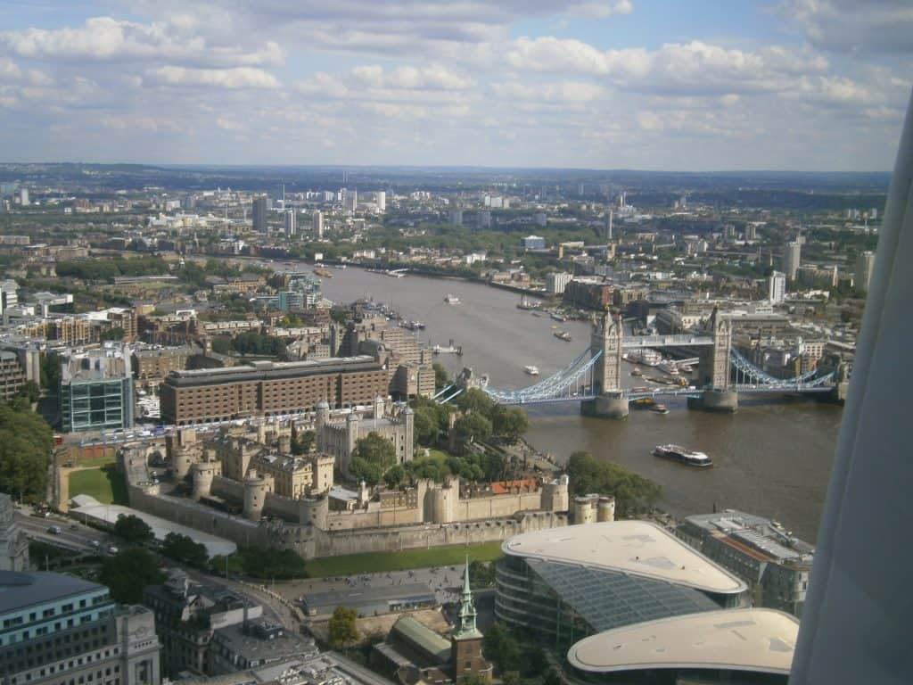 View of Tower Bridge from Sky Garden London