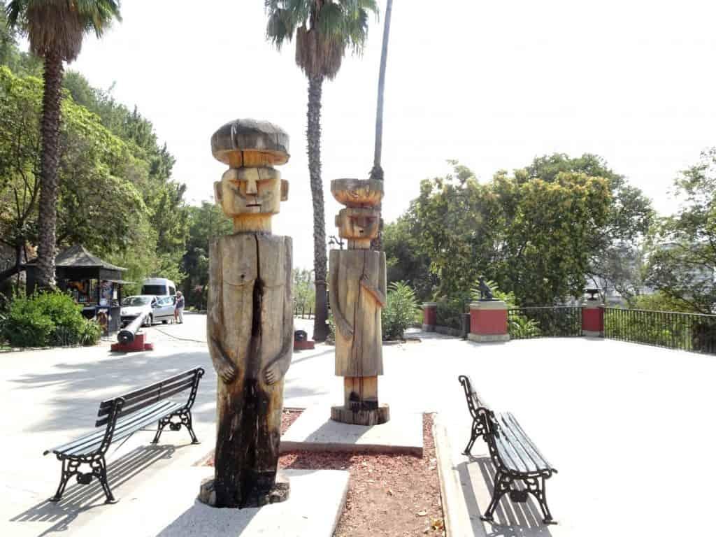 Mapuche Statues on Cerro Santa Lucia - Santiago de Chile