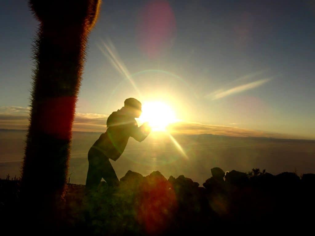 Catching the sun in the Salar de Uyuni in Bolivia