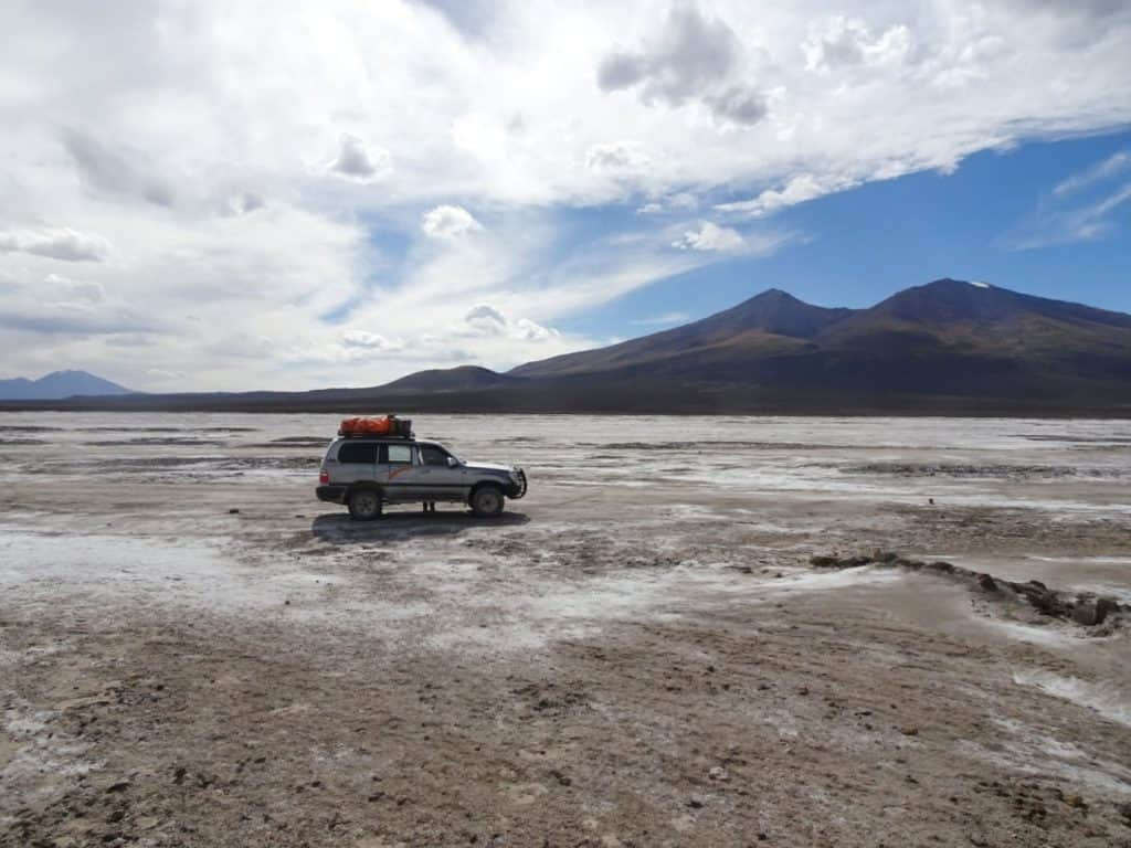 our jeep in the middle of the Salar