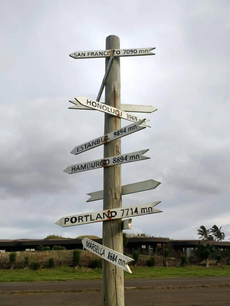 Easter Island sign post
