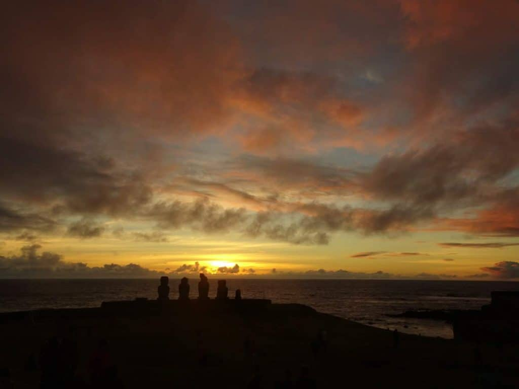 Sunset at Tahai Easter island