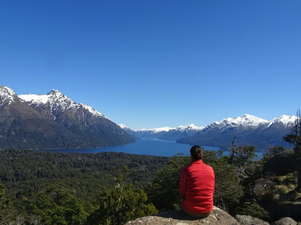 Looking out over lake and mountain Parque Municipal Llao Llao Bariloche Argentina