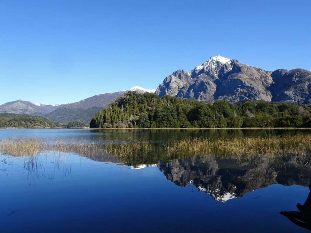 Mountain mirrored in lake Parque Municipal Llao Llao Bariloche Argentina