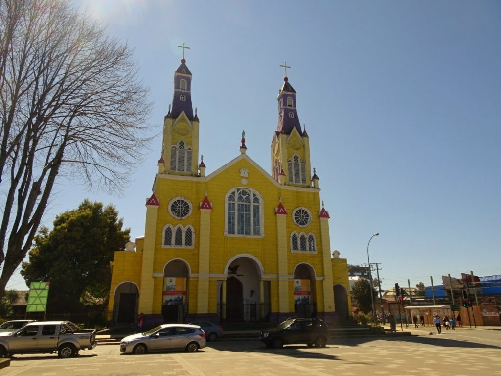Castro yellow church Chiloe island