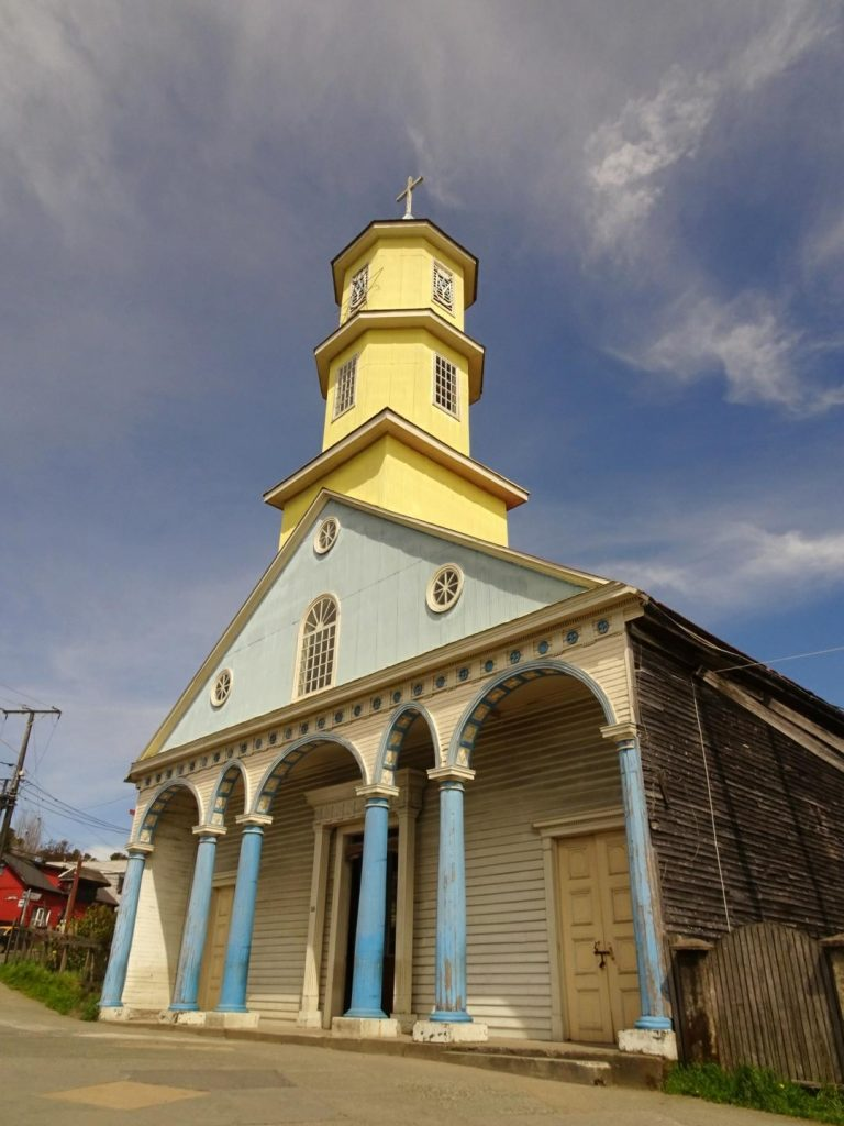 Chonchi colourful church Chiloe island
