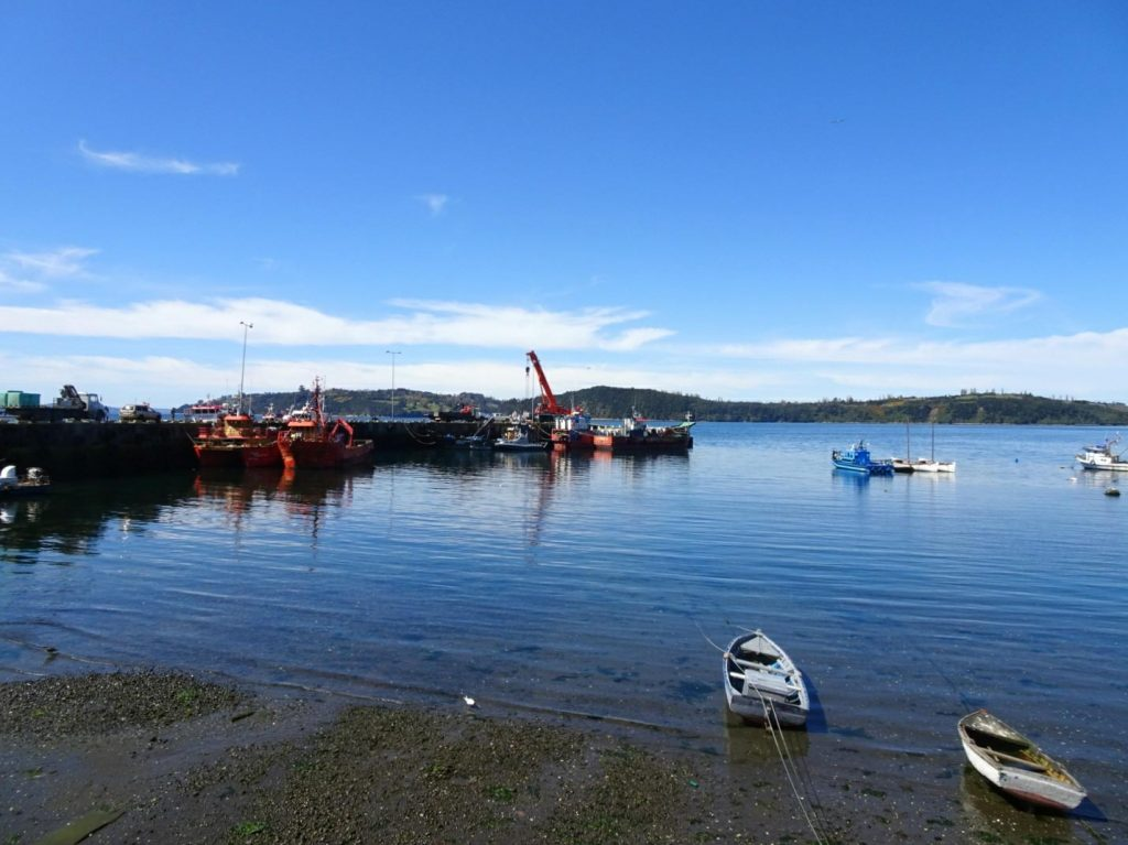 Chonchi harbour boats Chiloe island