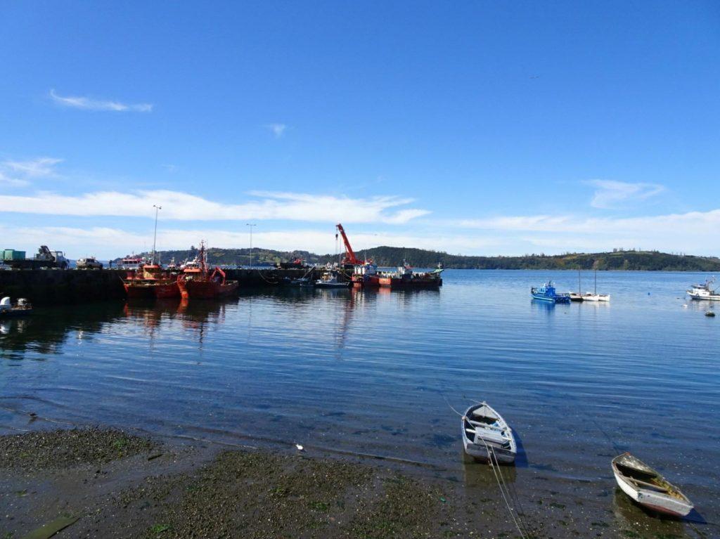 Chonchi harbour boats Chiloe island