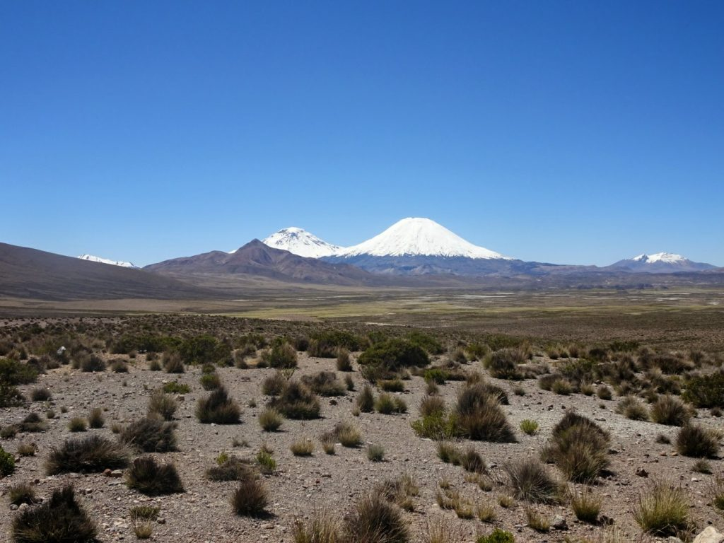 Snow-covered mountain, Lauca National Park, North Chile