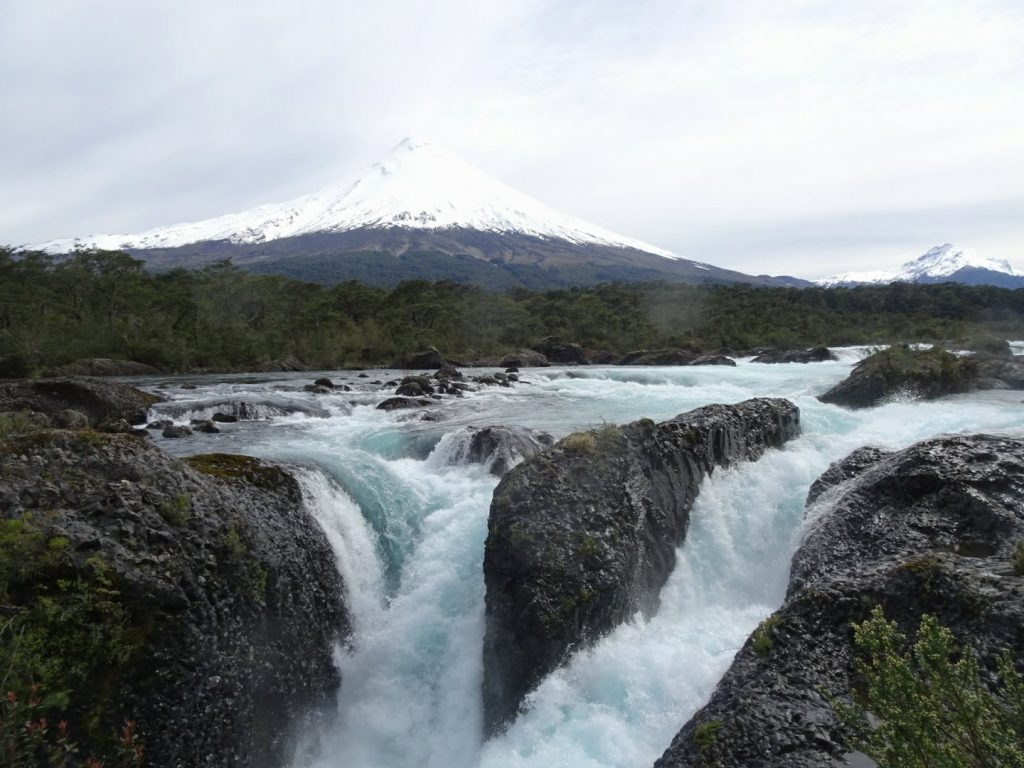 Waterfall before vulcano, Puerto Varas, Chile