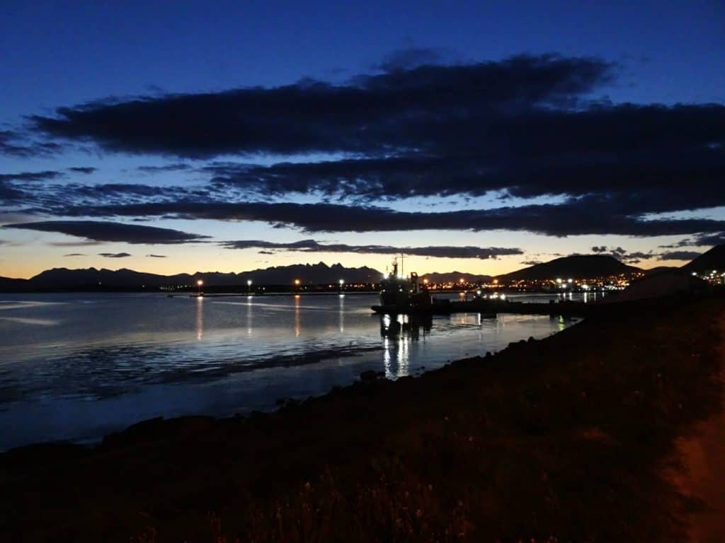 Ushuaia harbour by night, Argentina