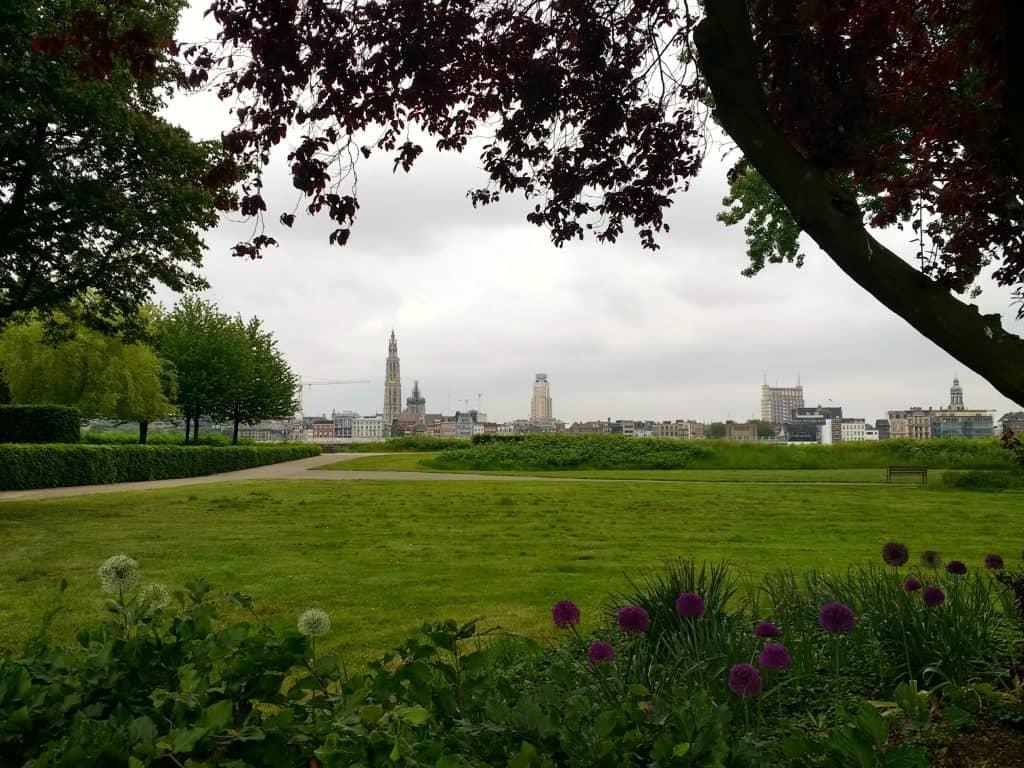 Antwerp Belgium Park Skyline