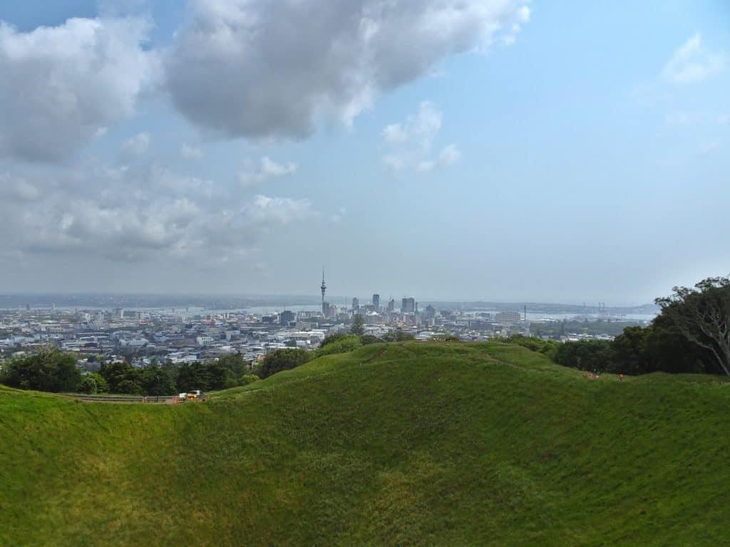 Auckland skyline from Mount Eden New Zealand