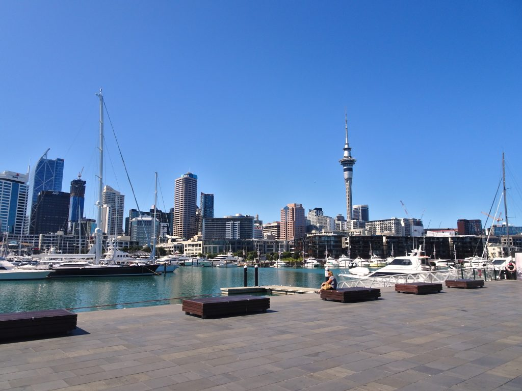 Viaduct Harbour, last day in Auckland New Zealand, after trip cut short