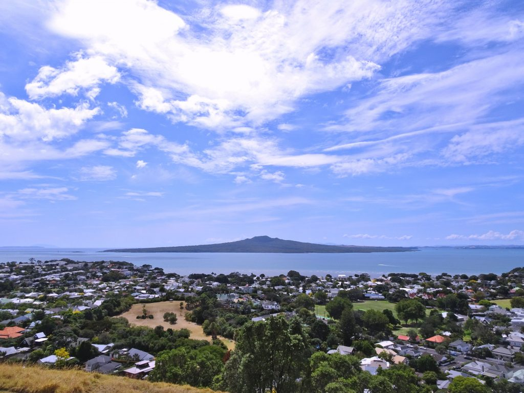 View of Rangitoto volcano from Mt VIctoria, Devonport, Auckland