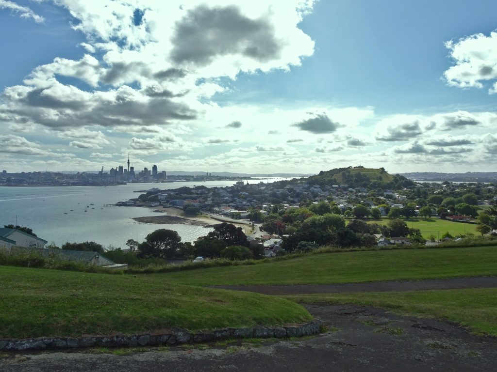 View of Devonport and Auckland Skyline from North Head, New Zealand