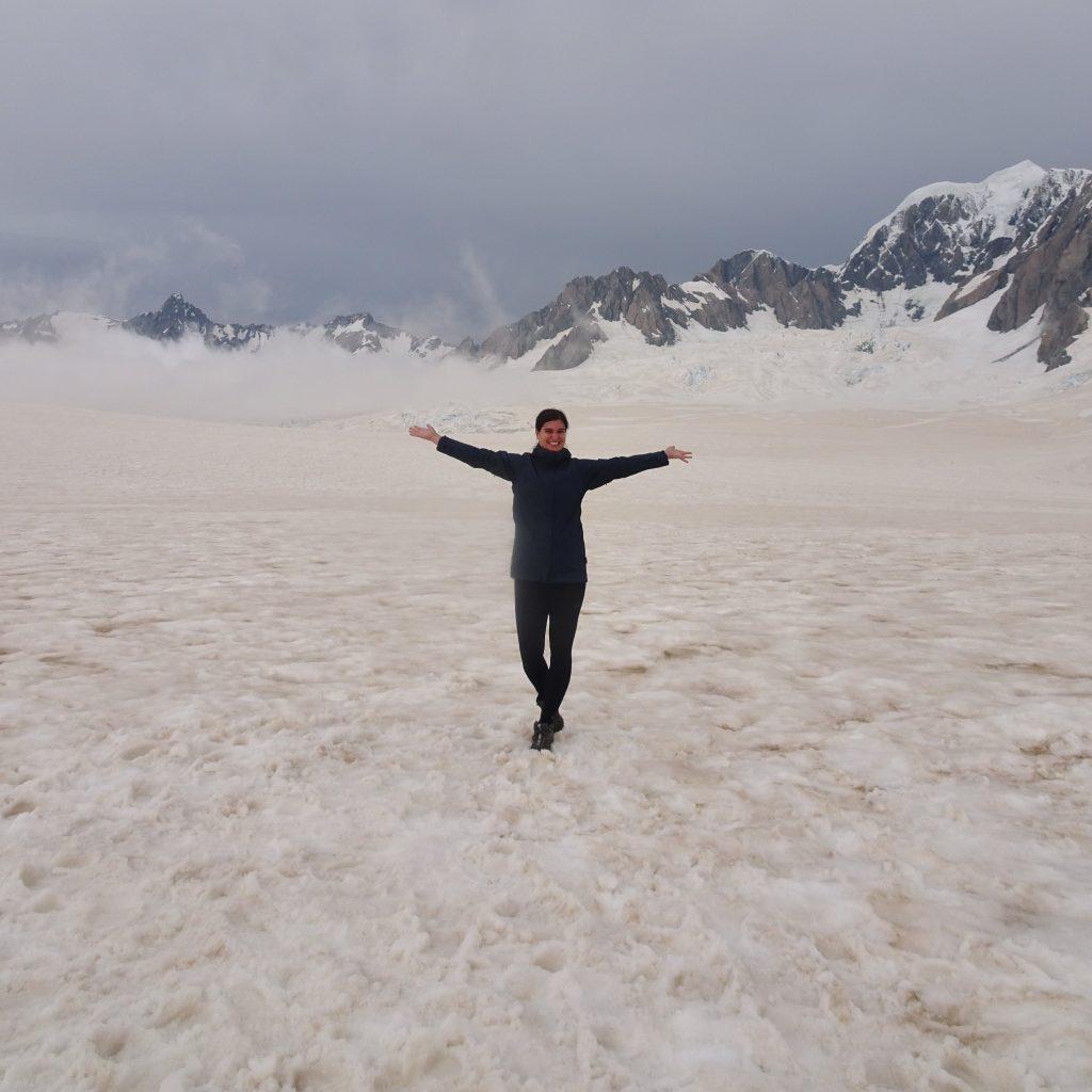Standing on top of Fox Glacier, New Zealand