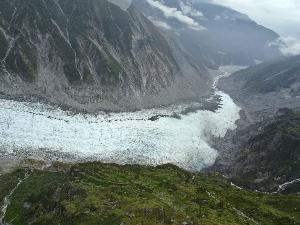 View of Fox Glacier from above, New Zealand