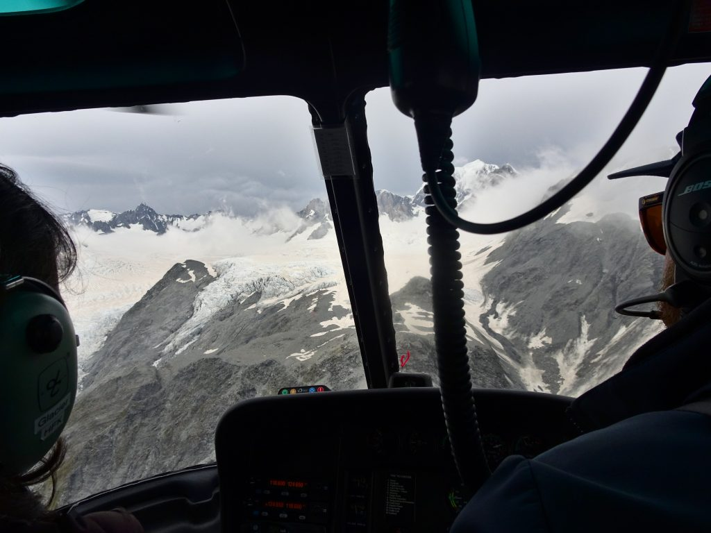 View threw helicopter front window of Fox Glacier, New Zealand
