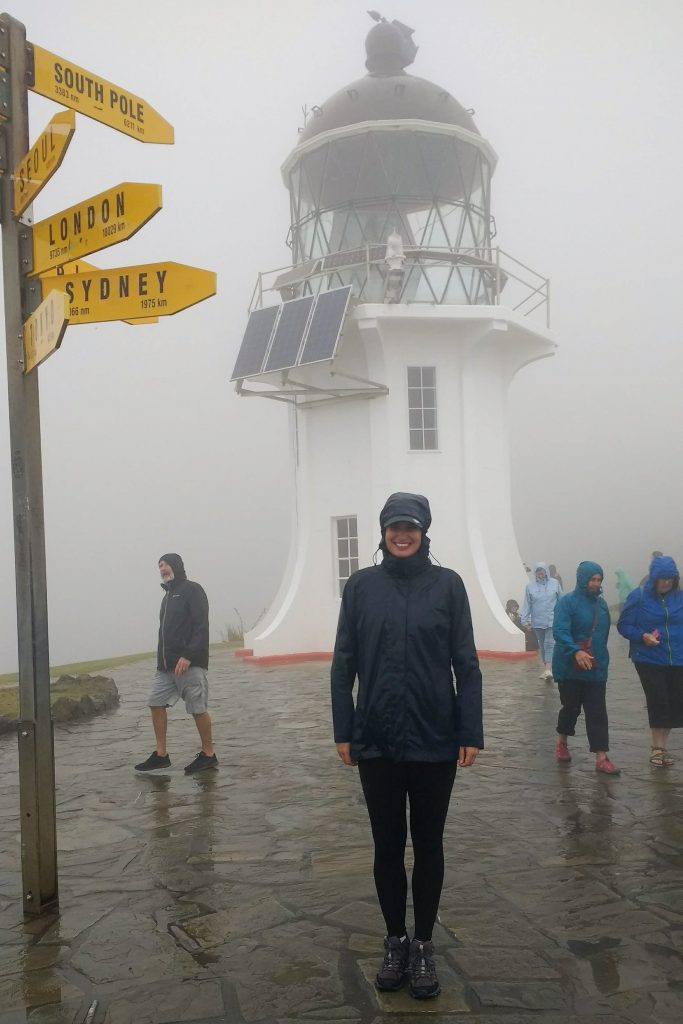 In front of the Cape Reinga Lighthouse, New Zealand