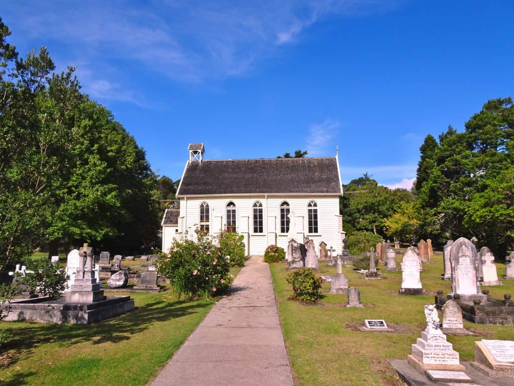 Historic Chuch and graveyard in Russell, New Zealand