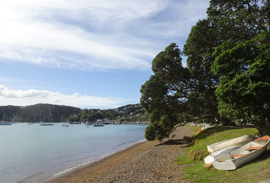Boats on the beach in Russell, Bay of Islands, New Zealand