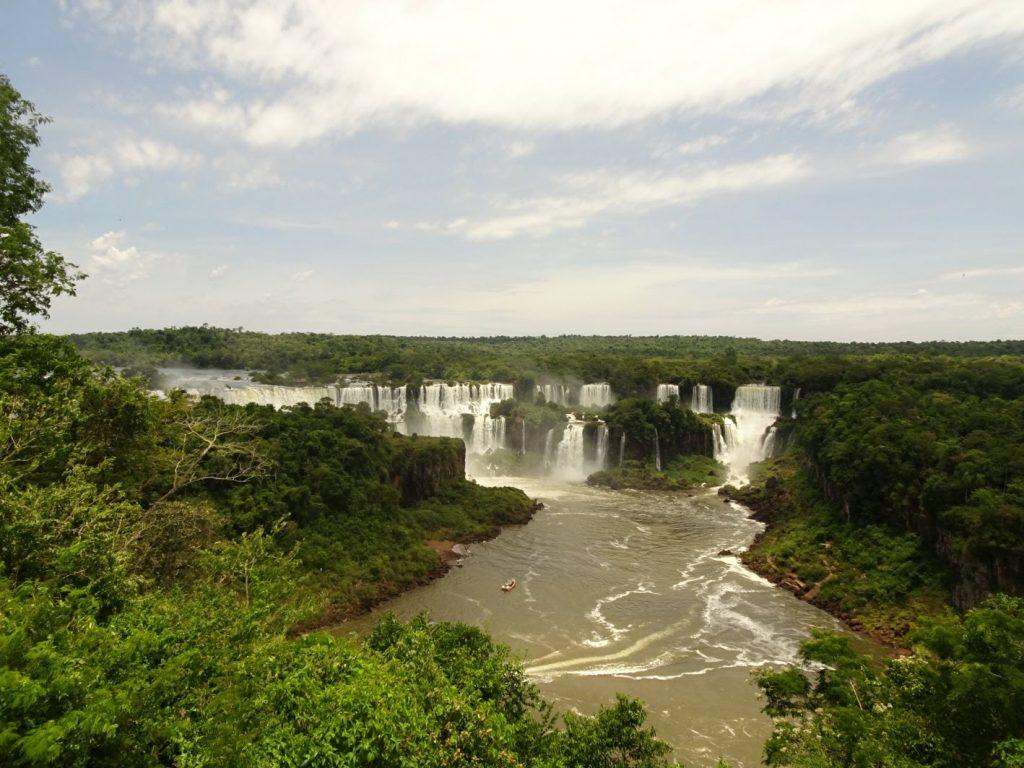 Panorama of Iguacu Falls Brazil side
