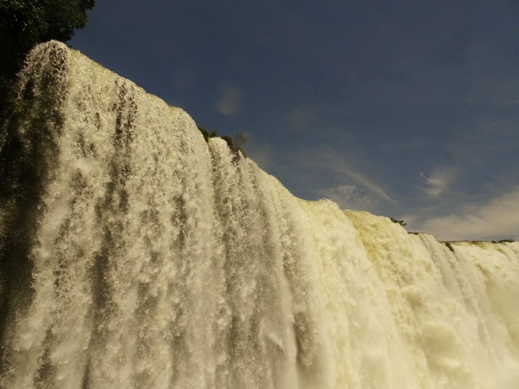 Water cascading down Iguacu Falls at Devil's Throat, Brazil