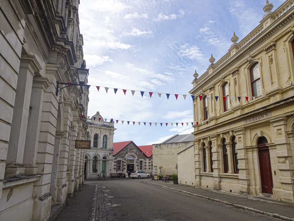 Street lined with historical buildings in Oamaru New Zealand