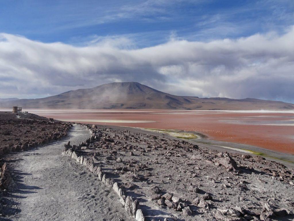 Red water of Laguna Colorada, Bolivia