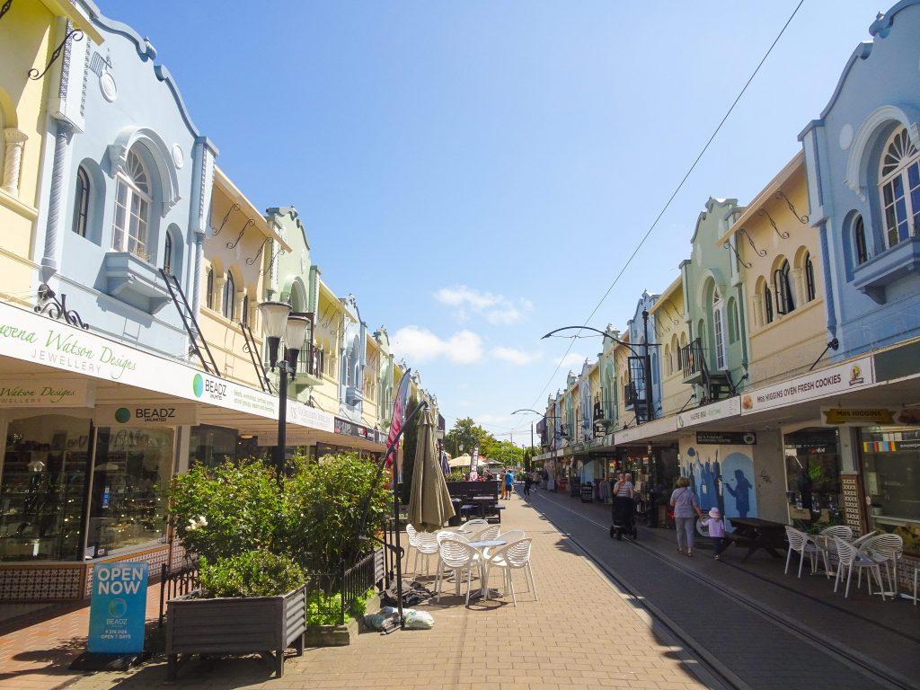 Pastel coloured town houses in Christchurch, New Zealand