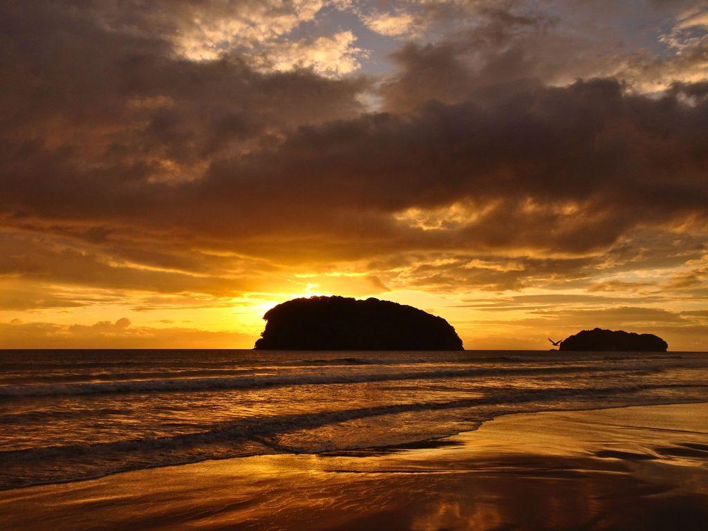 Sunrise over the ocean at Whangamata Beach, New Zealand